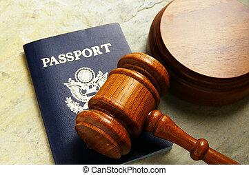 私達, パスポート, そして, 裁判官, 法廷, 小槌, 上 から