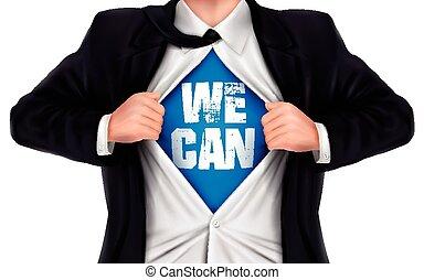 私達, ビジネスマン, 缶, ワイシャツ, 提示, 彼の, 下に, 言葉