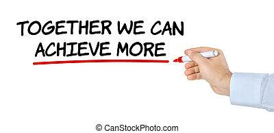 私達, 一緒に, 手, ペン, 缶, 執筆, 目的を達しなさい, もっと