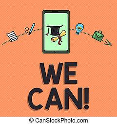 私達, 仕事, ビジネス, can., 写真, 提示, 成功, 一緒に, 執筆, メモ, 結果, ポジティブ, showcasing, eyeing, 目的を達しなさい