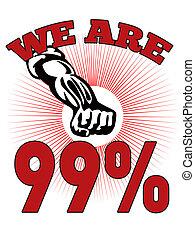 私達, %, 壁, 労働者, 99, 占めなさい, アメリカの通り