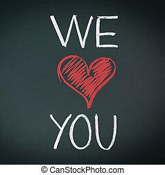 私達, 愛, あなた, 黒板