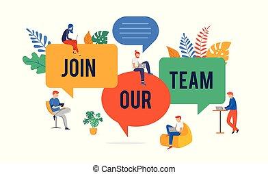 私達, 概念, 参加しなさい, 人々, イメージ, 巨人, イラスト, 若い, チーム, 雇用, ベクトル, スピーチ, 私達の, グループ, 泡