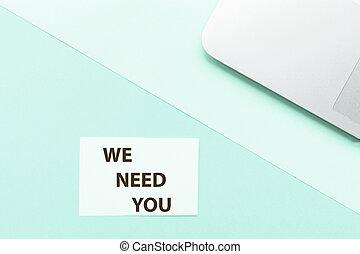 私達, 概念, 発表, バックグラウンド。, mockup, ラップトップ, 上, 捜索しなさい, space., 求人, 仕事, 緑, 必要性, 句, ビュー。, コピー, あなた