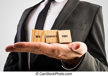 私達, 立方体, 保有物, 木製である, respe, -, 3, 言葉, ビジネスマン