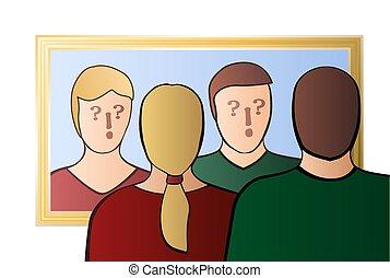 私達, 自己, 相互, 他人, 疑い, 鏡, 恋人