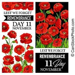 私達, 記憶, 花, 赤いポピー, lest, 忘れなさい, 日