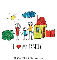 私, イメージ, ベクトル, 愛, 家族