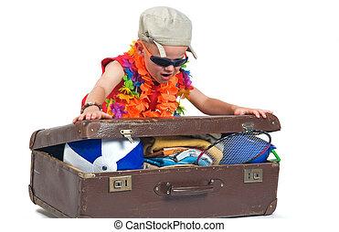 私, スーツケース