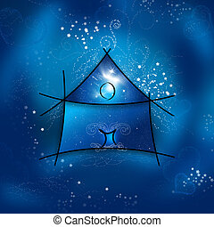 私, ファンタジー, 家, 上に, a, 星が多い, 夜