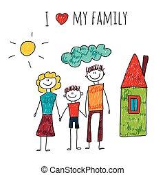私, ベクトル, 愛, イラスト, 家族