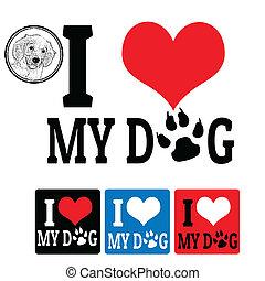 私, ラベル, 愛, 犬, 印