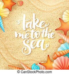 私, レタリング, 背景, 殻, インスピレーションを与える, -, 手, 砂, ベクトル, 夏, 取得, 海, 句