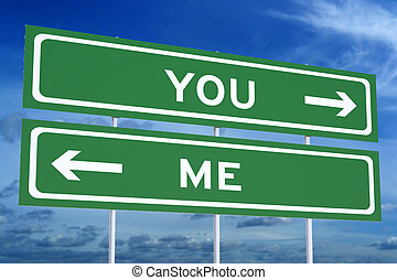 私, 概念, 道標, レンダリング, あなた, ∥あるいは∥, 道, 3d