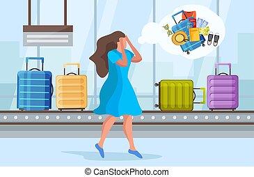 私, 構成, 失われた, スーツケース
