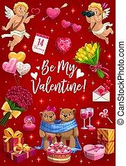 私, 花, キューピッド, 心, ありなさい, バレンタイン, 愛