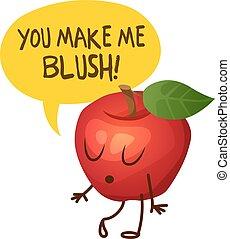 私, 言う, アップル, 作りなさい, 特徴, イラスト, blush., ベクトル, あなた, 漫画, 赤