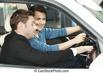 私, 顧客, すべて, 特徴, ショー, これ, 自動車, 提示, 若い, 確信した, advantages, model., そうさせられた, あなた, セールスマン