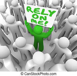 私, rely, 信頼性が高い, イラスト, 人, 信頼できる, 従業員, 独特, 3d