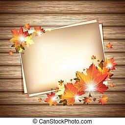 秋の群葉, 上に, 木製である, 背景