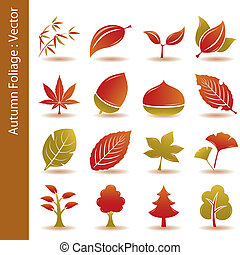 秋の群葉, 葉, アイコン, セット