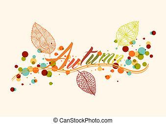 秋シーズン, 葉, そして, 泡, 構成, 背景, eps10, file.