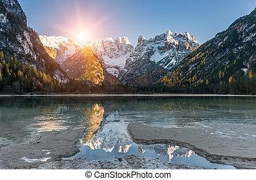 秋天风景, 带, 湖