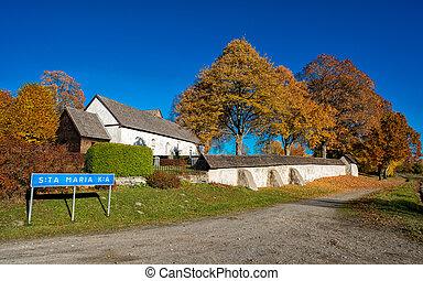 秋天, 在期間, 中世紀, 教堂