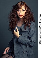秋天, 外套, 婦女, 年輕, 肖像