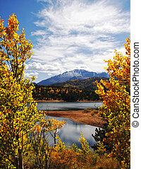 秋天, 山, 岩石, 風景