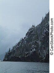 秋天, 山, 森林, 峰頂, 湖