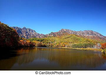 秋天, 山, 池塘
