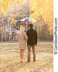 秋天, 愛, 關系, 以及, 人們, 概念, -, 年輕夫婦, 在