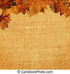 秋天, 摘要, 平靜的生活, 在上方, 粗麻布, 背景, 為, 你, 設計