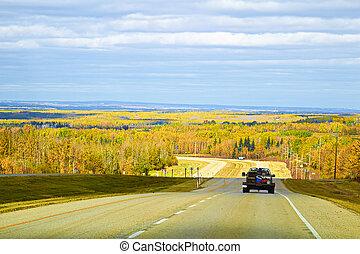 秋天, 旅行, 車輛, 向前, 高速公路, 看法