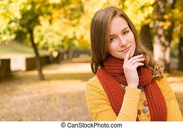 秋天, 時裝, 女孩, pondering.