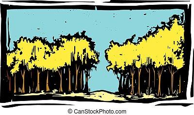 秋天, 木刻, 樹