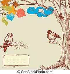 秋天, 樹, 以及, 鳥