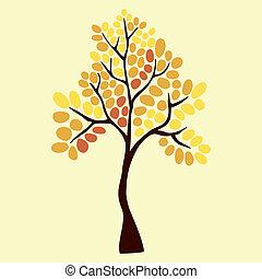 秋天, 樹, 元素, 為, 你, 設計