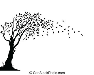 秋天, 樹, 黑色半面畫像