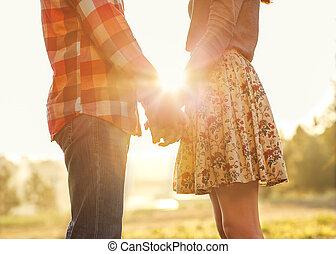秋天, 步行, 愛, 夫婦, 公園, 仔看, 傍晚, 扣留手