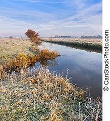 秋天, 河風景, 鮮艷