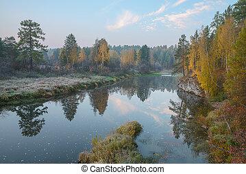秋天, 河, 多霜, 早晨