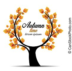 秋天, 矢量, 樹