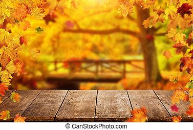 秋天, 背景, 由于, 下落的 葉子, 以及, 空, 木製的桌子