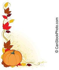 秋天, 邊框, 南瓜