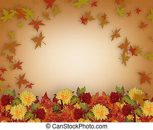 秋天, 邊框, 樣板