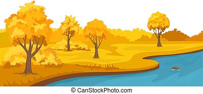 秋天, 鄉村, 河, 小山, 風景