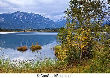 秋天, 高山, 湖, barmsee