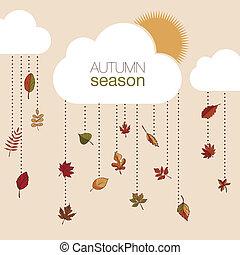 秋季树叶, 放置, 你, design.